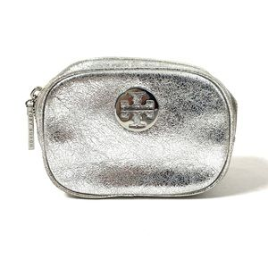 Tory Burch Metallic Silver Cosmetic Bag Small
